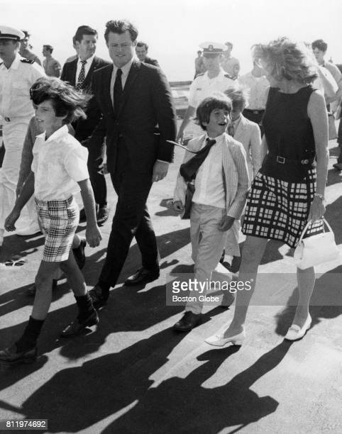 Members of the Kennedy family arrive at the Boston Harbor to watch the aircraft carrier USS John F Kennedy arrive for the first time in Boston Aug 3...