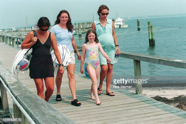 Members of the Kennedy family gather in Hyannis Port Massachusetts to await news after the disappearance of John F Kennedy Jr his wife Carolyn...
