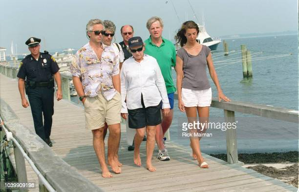 Members of the Kennedy family including Max Kennedy Ethel Skakel Kennedy Joseph Kennedy II and Max's wife Victoria Kennedy gather in Hyannis Port...