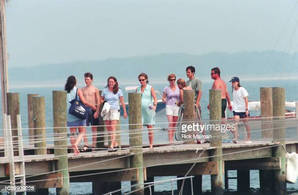 Members of the Kennedy family including Rory Kennedy and her fiance Mark Bailey gather in Hyannis Port Massachusetts to await news after the...