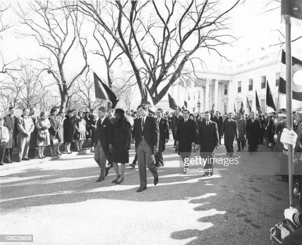 Members of the Kennedy family including Ted Kennedy Jacqueline Kennedy and Attorney General Robert F Kennedy lead the funeral procession for...