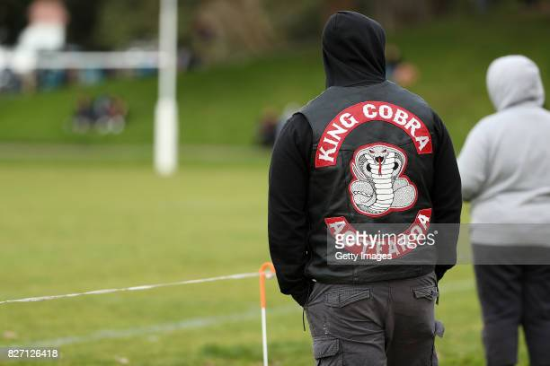 Members of the King Cobra gang watch club rugby league at Grey Lynn Park on August 5 2017 in Auckland New Zealand The King Cobra Aotearoa gang was...