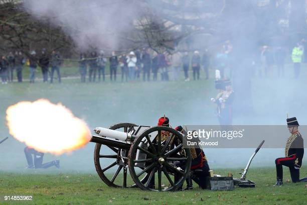 Members of the King's Troop Horse Artillery fire a 41 Gun Salute in Green Park on February 6 2018 in London England The salute marks the 66th...