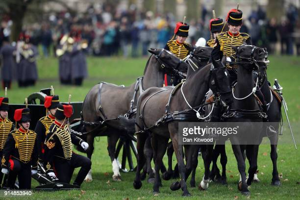 Members of the King's Troop Horse Artillery leave after firing a 41 Gun Salute in Green Park on February 6 2018 in London England The salute marks...