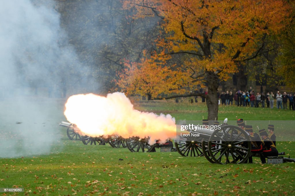 Members of the King's Troop Royal Horse Artillary take part in a 41-gun salute to mark the 69th birthday of the Prince of Wales at Green Park on November 14, 2017 in London, England. Six First World War-era 13 pounder Field Guns were used to fire the salute, while another gun salute took place at the Tower of London.