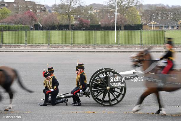 Members of The Kings Troop Royal Horse Artillery complete The Death Gun Salute to mark the passing of Britain's Prince Philip, Duke of Edinburgh, at...