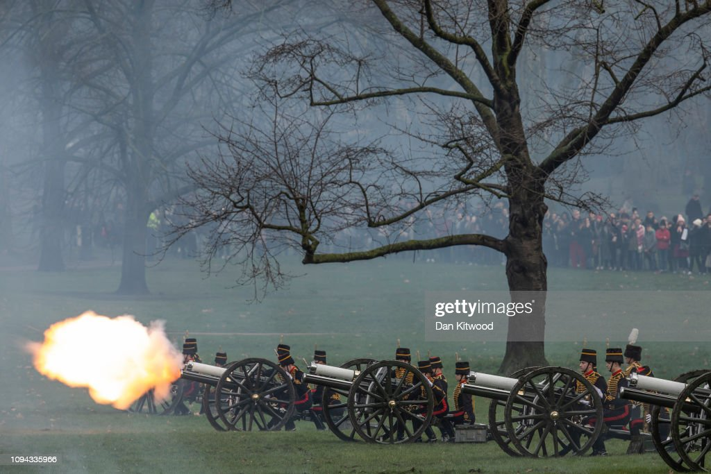 GBR: 41 Gun Salute Commemorates The Queen's 67th Year On The Throne