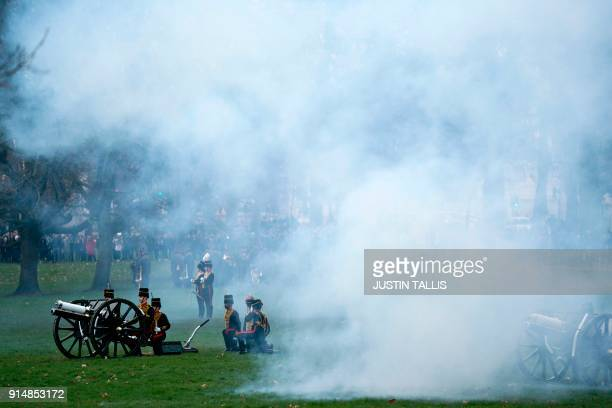 Members of the King's Troop Royal Horse Artillery fire a 41 gun salute in Green Park in central London on February 6 2018 to mark the 66th...
