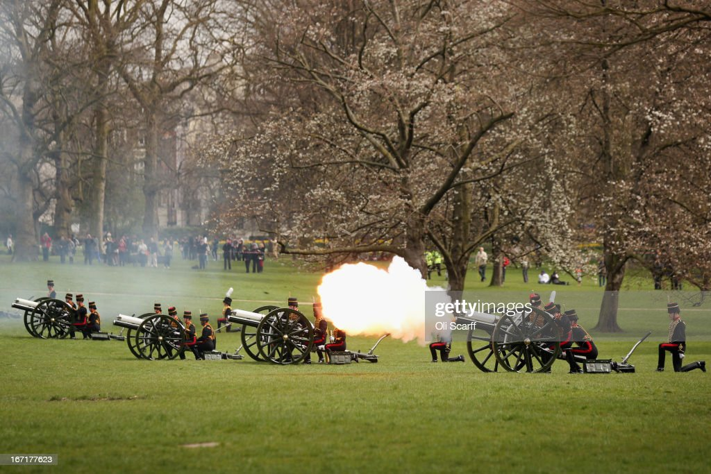 Members of the King's Troop Royal Horse Artillery fire a 41-gun royal salute in Green Park to celebrate Queen Elizabeth II's 87th birthday on April 22, 2013 in London, England. Gun salutes in honour of the Queen's birthday have been postponed by one day this year as her actual birthday, which is on April 21st, fell on a Sunday.