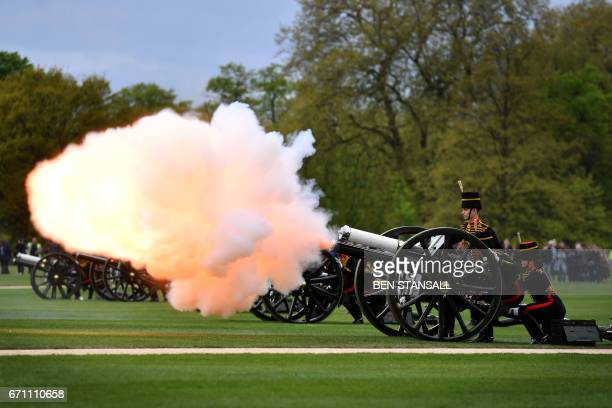 TOPSHOT Members of the King's Troop Royal Horse Artillery take part in a 41 Gun Royal Salute to mark the 91st birthday of Britain's Queen Elizabeth...