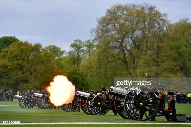 Members of the King's Troop Royal Horse Artillery take part in a 41 Gun Royal Salute to mark the 91st birthday of Britain's Queen Elizabeth II in...