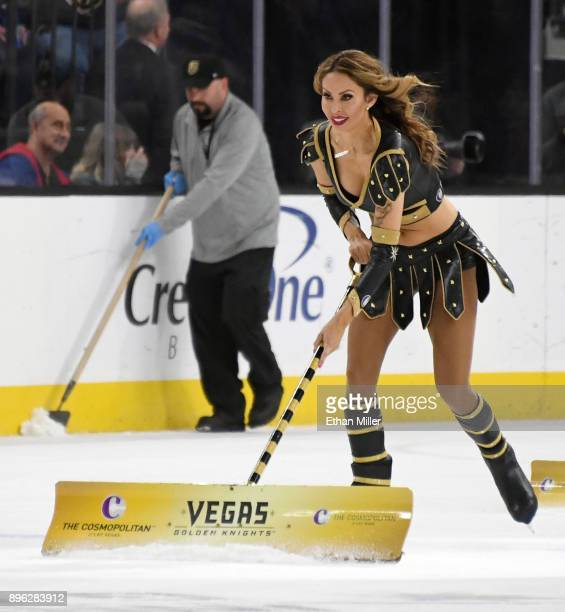 Members of the Knights Crew clean the ice during the Vegas Golden Knights' game against the Tampa Bay Lightning at TMobile Arena on December 19 2017...