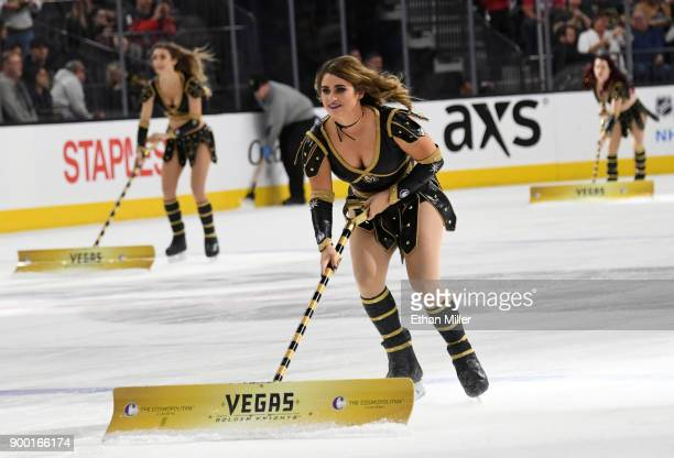 Members of the Knights Crew clean the ice during the Vegas Golden Knights' game against the Toronto Maple Leafs at TMobile Arena on December 31 2017...