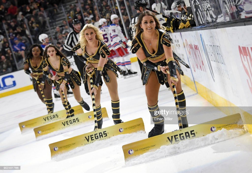 Members of the Knights Crew clean the ice during the Vegas Golden Knights' game against the New York Rangers at T-Mobile Arena on January 7, 2018 in Las Vegas, Nevada. The Golden Knights won 2-1.