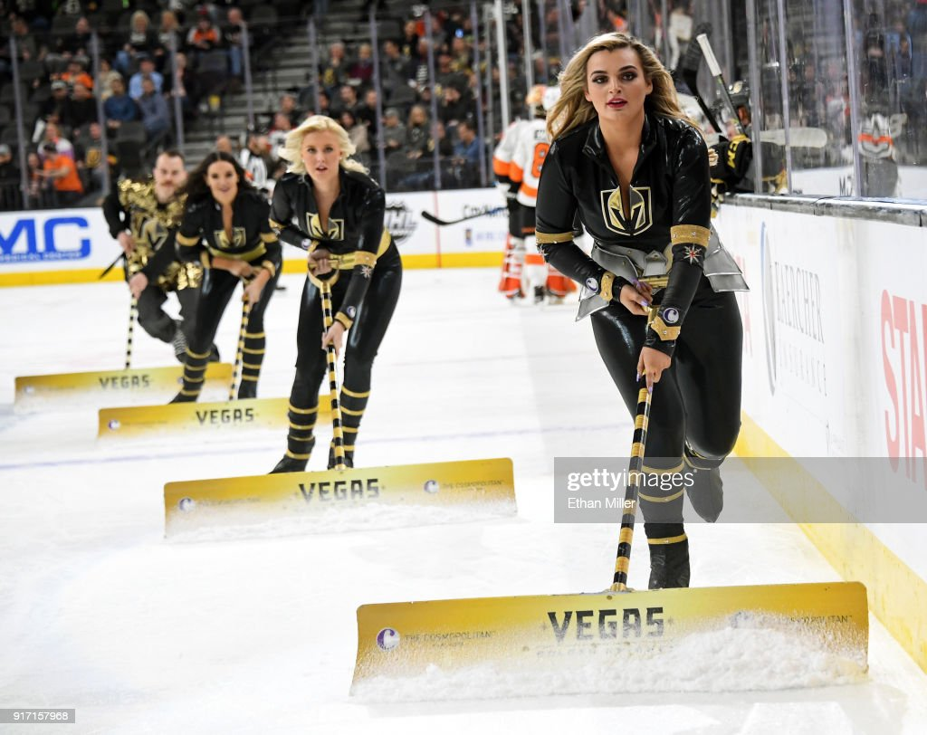 Members of the Knights Crew clean the ice during the Vegas Golden Knights' game against the Philadelphia Flyers at T-Mobile Arena on February 11, 2018 in Las Vegas, Nevada. The Flyers won 4-1.