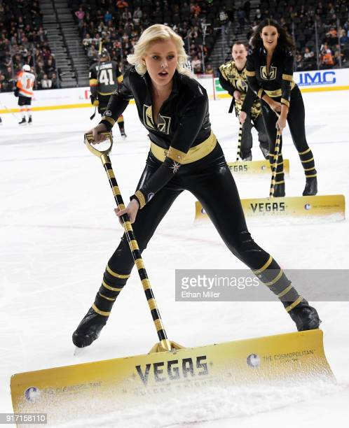 Members of the Knights Crew clean the ice during the Vegas Golden Knights' game against the Philadelphia Flyers at TMobile Arena on February 11 2018...