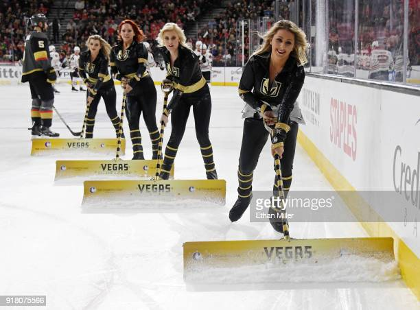 Members of the Knights Crew clean the ice during the Vegas Golden Knights' game against the Chicago Blackhawks at TMobile Arena on February 13 2018...