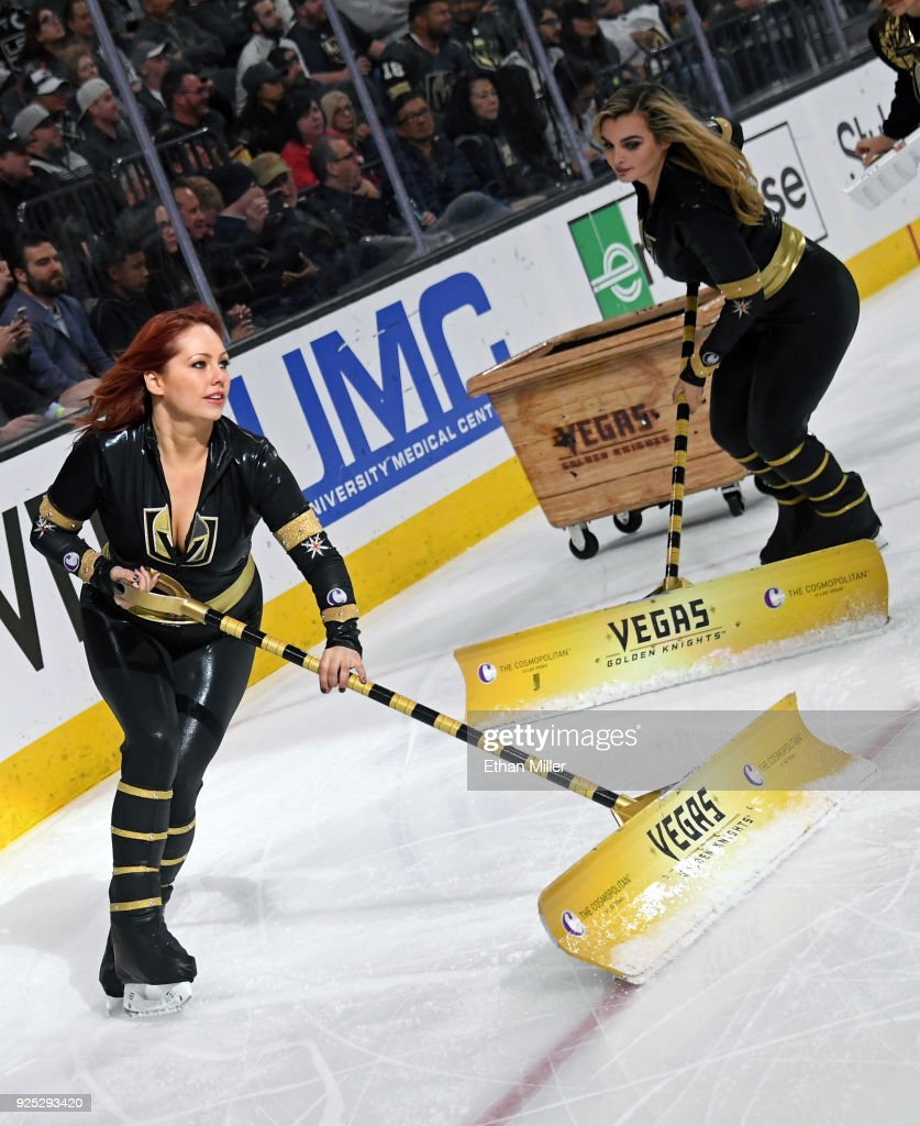Members of the Knights Crew clean the ice during the Vegas Golden Knights' game against the Los Angeles Kings at T-Mobile Arena on February 27, 2018 in Las Vegas, Nevada. The Kings won 4-1.