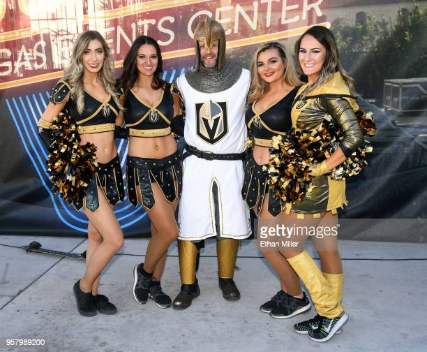 Members of the Knights Crew members of the Vegas Golden Knights Golden Aces and the Golden Knight attend a Golden Knights road game watch party at...