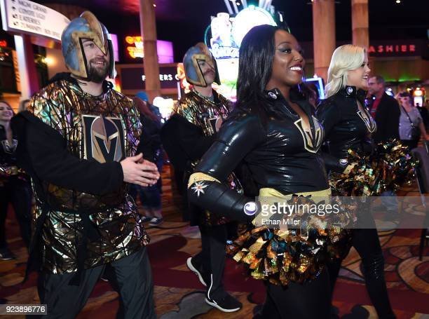 Members of the Knights Crew participate in The March to the Fortress through the New YorkNew York Hotel Casino before the Vegas Golden Knights' game...