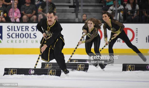 Members of the Knights Guard clean the ice during the Vegas Golden Knights' game against the Tampa Bay Lightning at TMobile Arena on October 26 2018...