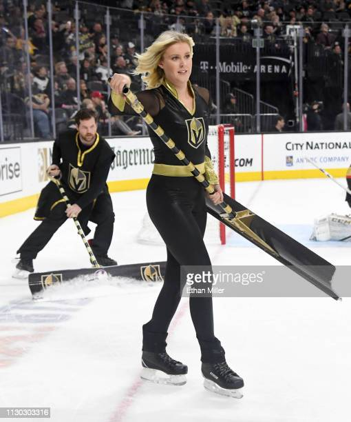 Members of the Knights Guard clean the ice during the Vegas Golden Knights' game against the Nashville Predators at TMobile Arena on February 16 2019...