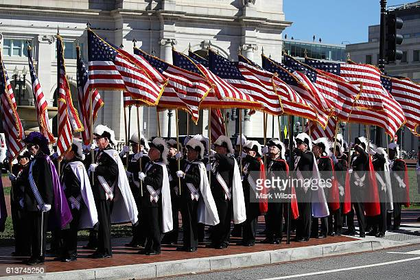 Members of the Knights of Columbus participate in a Columbus Day ceremony at the National Columbus Memorial in front of Union Station October 10 2016...