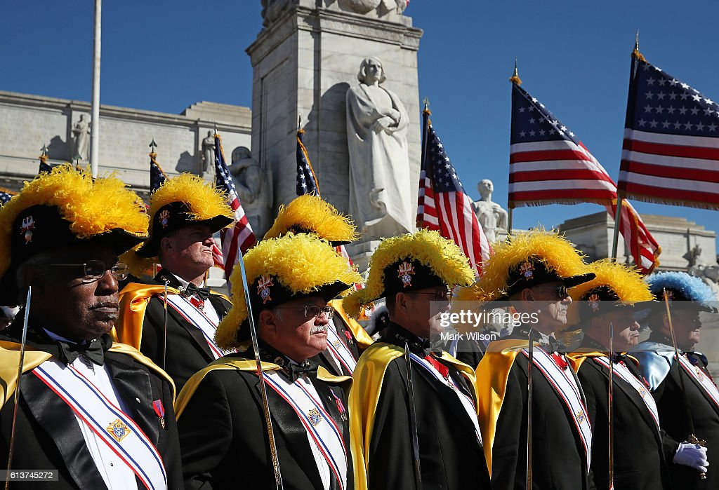 Members of the Knights of Columbus participate in a Columbus Day ceremony at the National Columbus Memorial in front of Union Station, October 10, 2016 in Washington, DC. Columbus Day celebrates Christopher Columbus' arrival in the Americas on October 12, 1492.
