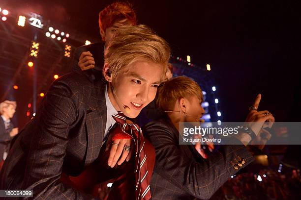 Members of the Korean KPop group 'Exo' perform onstage at MTV World Stage Live Malaysia on September 8 2013 in Kuala Lumpur Malaysia The event was...