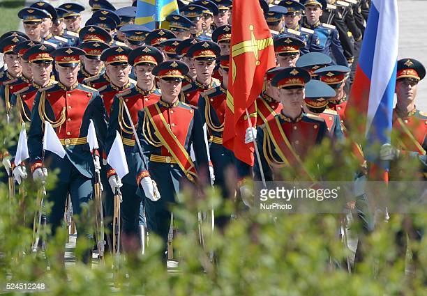 Members of the Kremlin Regiment at the Tomb of the Unknown Soldier, ahead of the 70th Anniversary of Victory in the Great Patriotic War of 1941-1945....