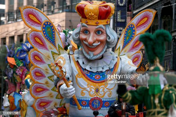Members of the Krewe of Rex King of Carnival parade down St Charles Avenue Mardi Gras Day on March 05 2019 in New Orleans Louisiana