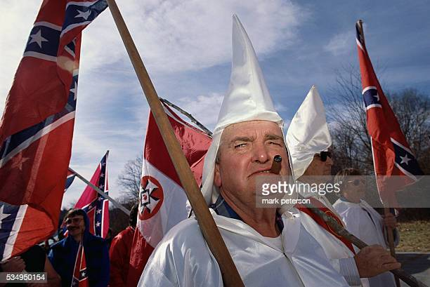 Members of the Ku Klux Klan attend a demonstration in Lawrenceburg Tennessee They are protesting against the Martin Luther King holiday