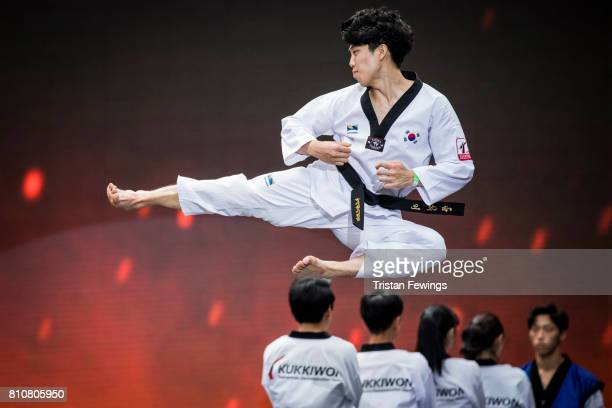 Members of the Kukkiwon Taekwondo Team perform a Taekwondo demonstration during the London Korean Festival 2017 at Olympia London on July 8 2017 in...