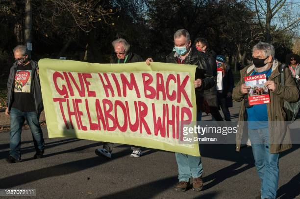 Members of the Labour Party march through Finsbury Park in support of Jeremy Corbyn and to demand that the whip is restored to him by leader Keir...