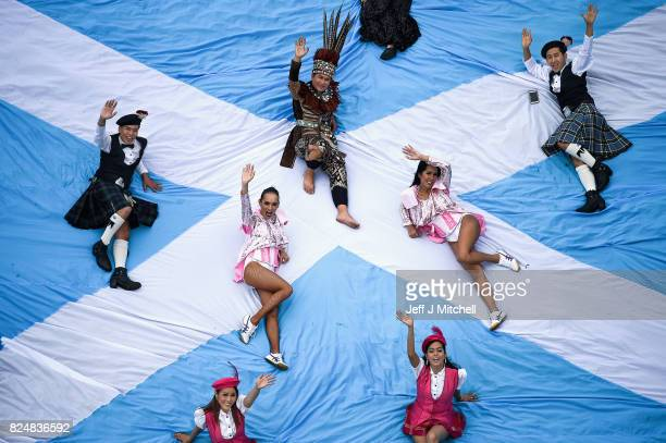 Members of the Lady Boys of Bangkok pose on Calton Hill ahead of the Festival Fringe production Who Runs the World on July 31 2017 in Edinburgh...