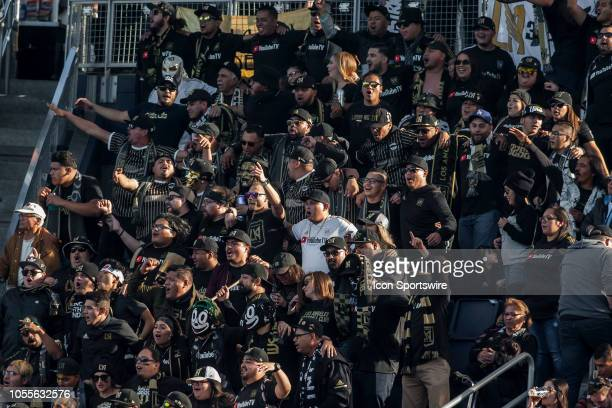Members of the LAFC Supporters group chant together during the match between Sporting Kansas City and Los Angeles FC played on Sunday October 28 2018...