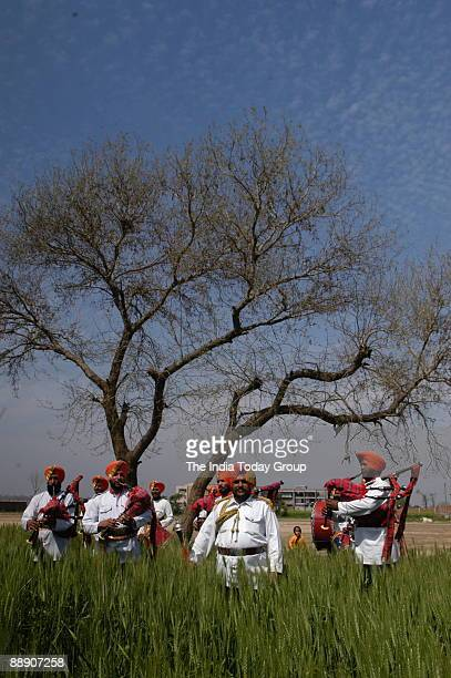 Members of the Lajawab Bagpipe Band in Ludhiana Punjab India