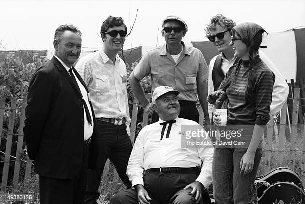 Members of the Landreneau Cajun Band with singer songwriters Ian Tyson Gordon Lightfoot and singer Sylvia Tyson backstage at the Newport Folk...