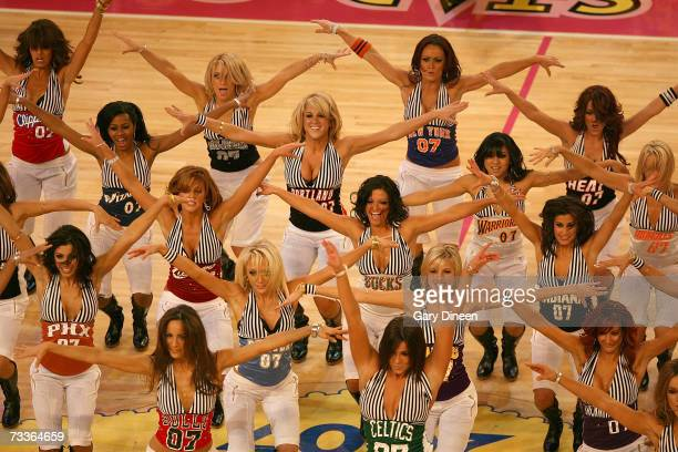 Members of the Las Vegas AllStar Dance Team dance during a timeout of the 2007 NBA AllStar Game on February 18 2007 at the Thomas Mack Center in Las...