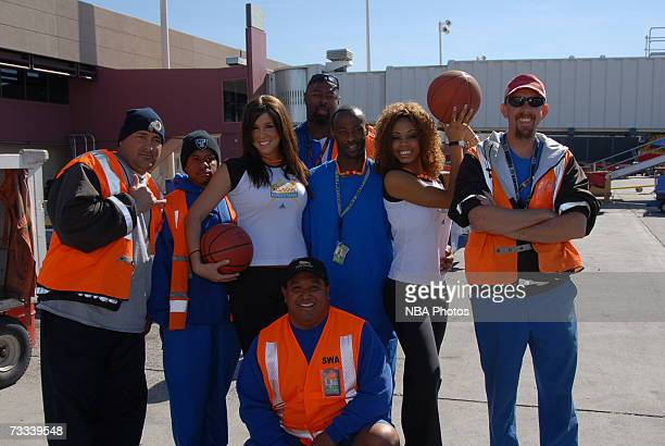 Members of the Las Vegas AllStar Dance team pose with Southwest Airlines employees during the Trading Places Southwest Airlines Event on February 15...