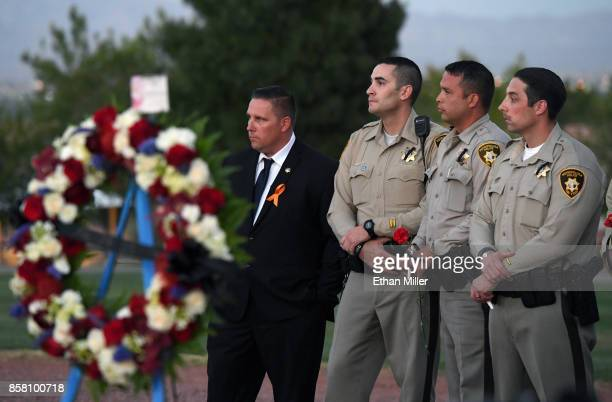 Members of the Las Vegas Metropolitan Police Department attend a vigil for Las Vegas Metropolitan Police Department Officer Charleston Hartfield at...