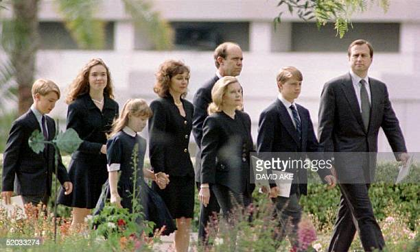 Members of the late President Richard Nixon's family arrive at his 27 April 1994 funeral at the Richard Nixon Library and Birthplace in Yorba Linda...