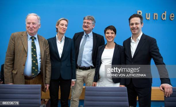 Members of the leadership of Germany's rightwing populist Alternative for Germany party pose prior to a press conference in Berlin on May 15 one day...