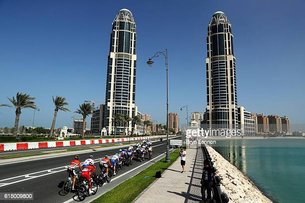 Members of the leading group ride during the Elite Men's Road Race on day eight of the UCI Road World Championships on October 16 2016 in Doha Qatar