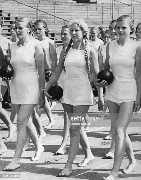 Members of the 'League of German Girls' in their new sportswear at the 18th German Sports and Gymnastics Festival late July 1938