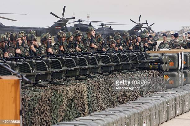 Members of the Lebanese Army stand guard at a ceremony as the Lebanese army receive the first shipment of French arms within the context of a...