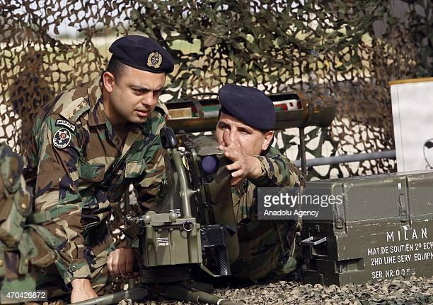 Members of the Lebanese Army test arms at a ceremony as the Lebanese army receive the first shipment of French arms within the context of a $3billion...