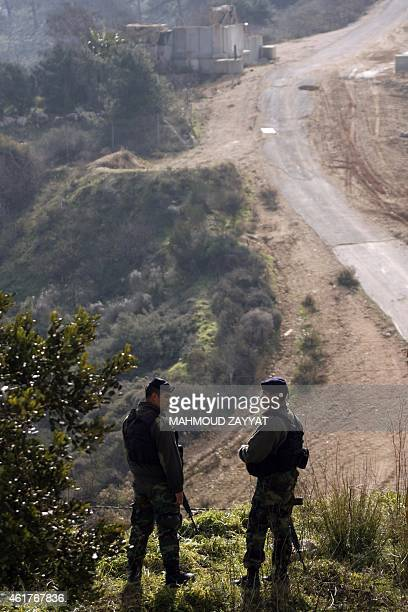 Members of the Lebanese security forces patrol an area near the southern Lebanese town of Kfar Kila near the border with Israel on January 19 one day...