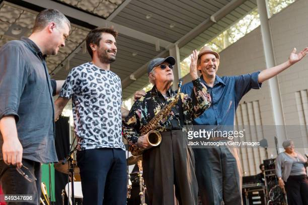 Members of the Lee Konitz Quartet take a bow after their performance at the 25th Annual Charlie Parker Jazz Festival in Harlem's Marcus Garvey Park...
