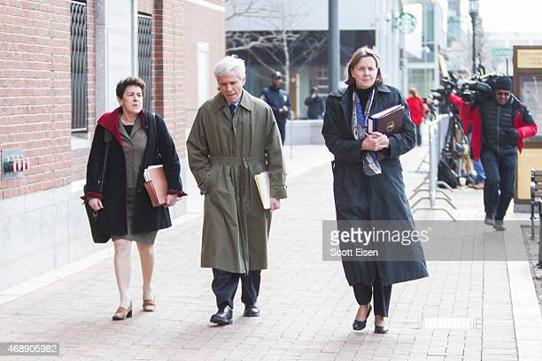 Members of the legal defense team for Boston Marathon bombing suspect Dzhokhar Tsarnaev including Miriam Conrad David Bruck and Judy Clarke leave...